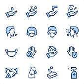 Pandemic Prevention icons set #11 Specification: 16 icons, 36x36 pх, stroke weight 2 px Features: Pixel Perfect, Dichromatic, Single line   First row of icons contains: Hand washing, Foaming Soap, Water Tap & Hygiene, Spray disinfectant dispenser icon;  Second row contains: Coughing (Covid-19 spread), Protective FFP Mask, Wearing FFP Mask, Temperature (Fever);  Third row contains: Medical Face Mask, Bacterium and Virus Detection, Using disinfectant soap, Bacterium and Virus Protection;   Fourth row contains: Coronavirus — No Handshake, Liquid Hand Sanitiser, Soap, Antiseptic Spray Bottle.  Complete BLUE MICO collection - https://www.istockphoto.com/collaboration/boards/Y8ZYtc2sY0qNQVGRttlncQ