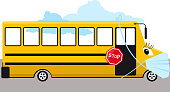 School bus in a protective face mask during a Covid-19 pandemic, EPS 8 vector illustration