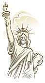 drawing of vector pandemic statue of liberty symbol. Created by illustrator cs6. This file of transparent.