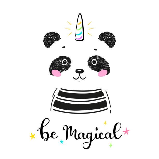 パンディコーンホーンと魔法かわいいユニコーンパンダクマと「魔法になる」子供のためのベクトルイラストを引用。かわいい動物tシャツプリント、ベビーシャワーカード、託児ポスター、 - 花のボーダー点のイラスト素材/クリップアート素材/マンガ素材/アイコン素材
