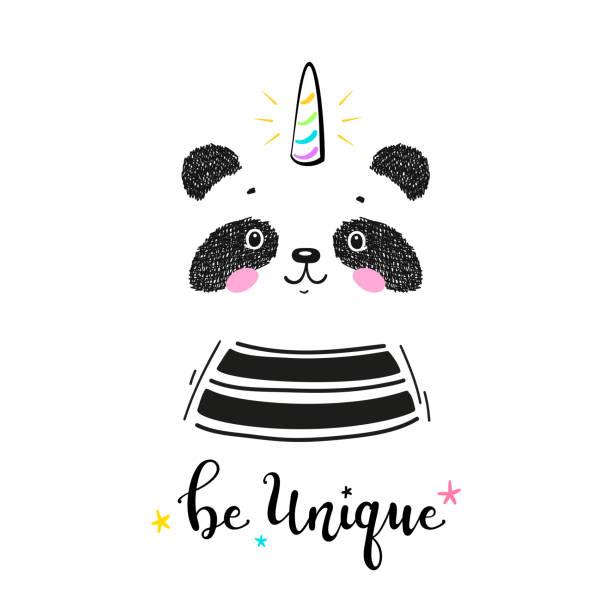 パンディコーンホーンと魔法かわいいユニコーンパンダクマと「ユニークになる」子供のためのベクトルイラストを引用。かわいい動物tシャツプリント、ベビーシャワーカード、託児ポスタ - 花のボーダー点のイラスト素材/クリップアート素材/マンガ素材/アイコン素材