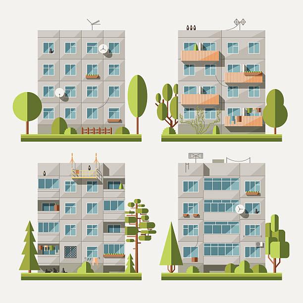 illustrazioni stock, clip art, cartoni animati e icone di tendenza di case pannello piatto set 1 - appartamento