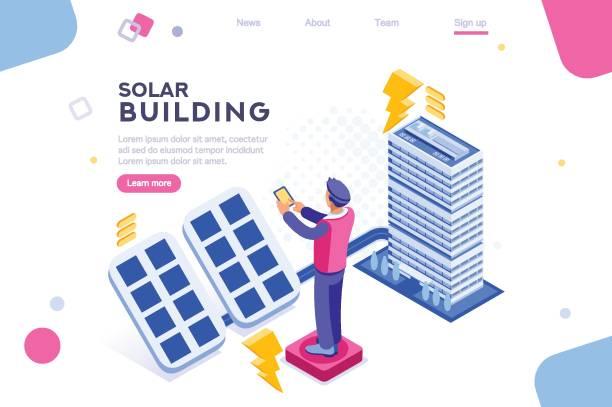 ilustrações de stock, clip art, desenhos animados e ícones de panels electric economy house - solar panel