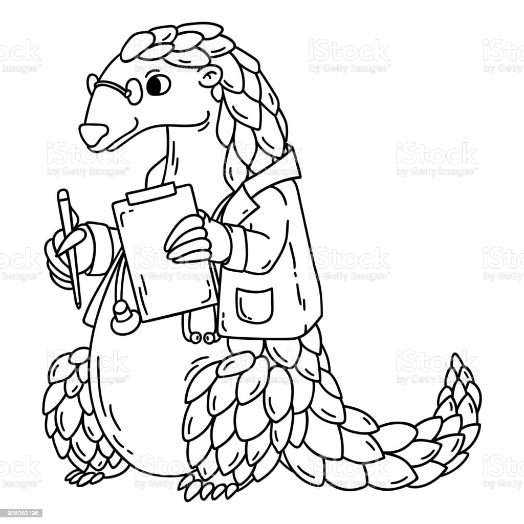 Pangolin The Doctor Coloring Book Stock Vector Art & More Images of ...