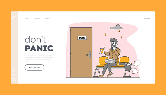 Panic Attack Disorder, Stress Situation at Work, Guilty Employee Landing Page Template. Businessman Character Feel Fear