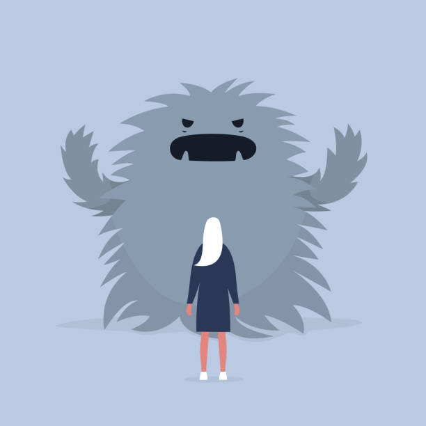 Panic attack. Face the fear.  Psychological issues. Phobia, Dealing with the stress. Huge monster trying to scare a character. Flat editable vector illustration, clip art Panic attack. Face the fear.  Psychological issues. Phobia, Dealing with the stress. Huge monster trying to scare a character. Flat editable vector illustration, clip art giant fictional character stock illustrations