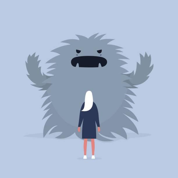 stockillustraties, clipart, cartoons en iconen met de aanval van de paniek. het gezicht van de angst.  psychische problemen. fobie, omgaan met de stress. enorme monster proberen te schrikken van een karakter. plat bewerkbare vectorillustratie, illustraties - dierenhaar
