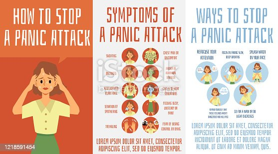 Panic attack symptoms and ways to stop - medical poster set with cartoon woman showing signs of fear and anxiety attach and problem solutions. Flat vector illustration.