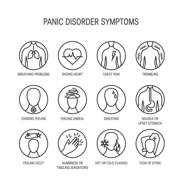 Panic attack symptoms vector Panic attack symptoms, line icons, vector illustration. chest torso stock illustrations