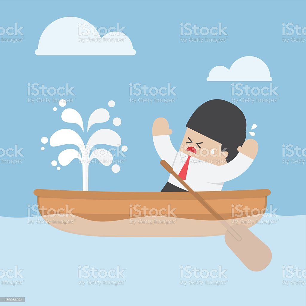 Panic businessman with leaking boat vector art illustration