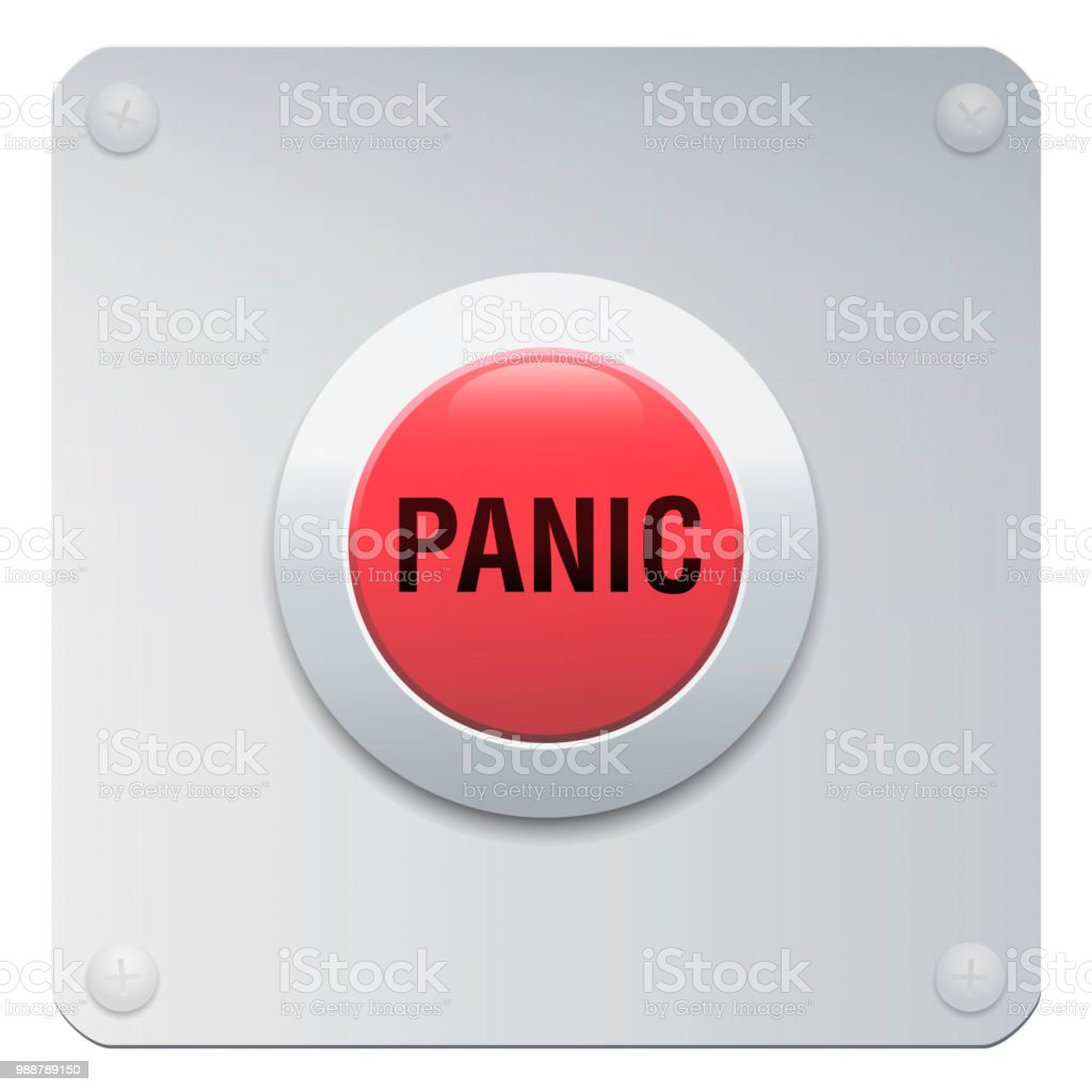 Panic Button On Chrome Panel Red And Silver Colored Isolated Vector Illustration On White Background
