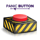 Red Panic Button Sign Vector. Red Alarm Shiny Button Illustration