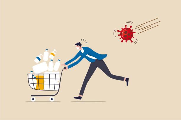 stockillustraties, clipart, cartoons en iconen met paniek kopen in covid-19 coronavirus uitbraak crisis, mensen hamsteren op avondklok en lockdown concept, paniek man loopt in angst met vol goederen, medicijnen, weefsels in winkelwagentje met virus ziekteverwekker. - avondklok