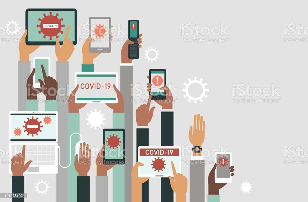 Panic of COVID-19 outbreak concept. Human hands holding various smart devices with coronavirus alerts on their screens. COVID-19 2019-nCoV concept. Human hands holding various smart devices with coronavirus alerts on their screens.flat vector illustration Adult stock vector