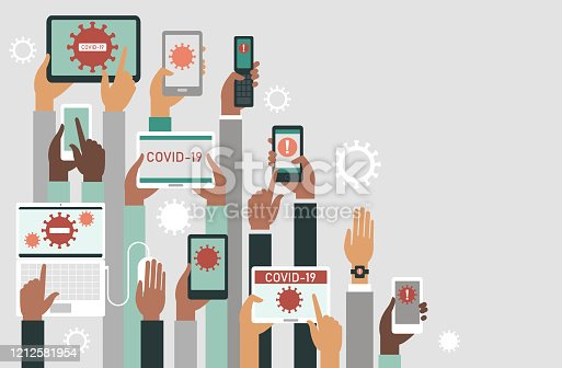 COVID-19  2019-nCoV concept. Human hands holding various smart devices with coronavirus alerts on their screens. flat vector illustration