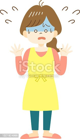 istock Panicked young woman in yellow apron 1321924995