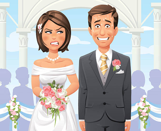 stockillustraties, clipart, cartoons en iconen met panicking groom at outdoor wedding ceremony - bruid