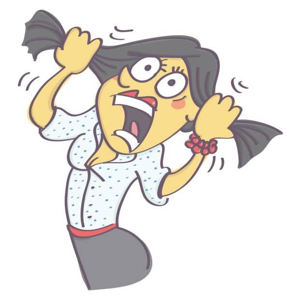 ilustrações de stock, clip art, desenhos animados e ícones de panicking people - puxar cabelos