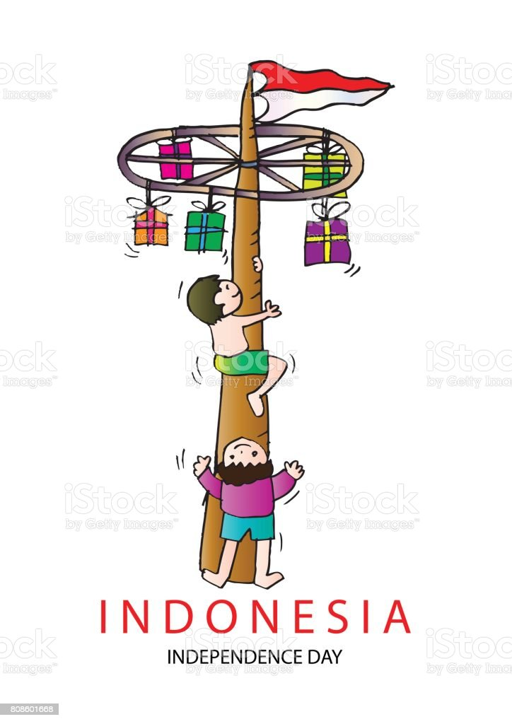 Ilustración de Panjat Pinang Poste Que Sube Tradición De Día De La ...