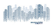 Abstract Futuristic City vector, Digital Cityscape. transparent city landscape, Dots Building in the City, sci-fi, skyline Perspective, Architecture vector