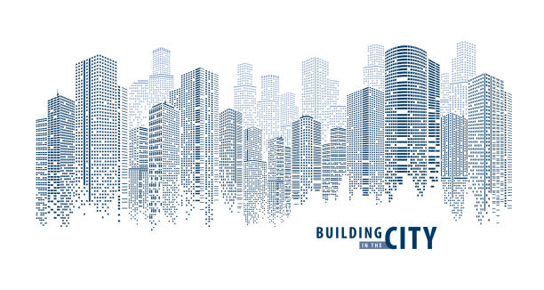 Pano Building abstract 1 Abstract Futuristic City vector, Digital Cityscape. transparent city landscape, Dots Building in the City, sci-fi, skyline Perspective, Architecture vector skyscraper stock illustrations