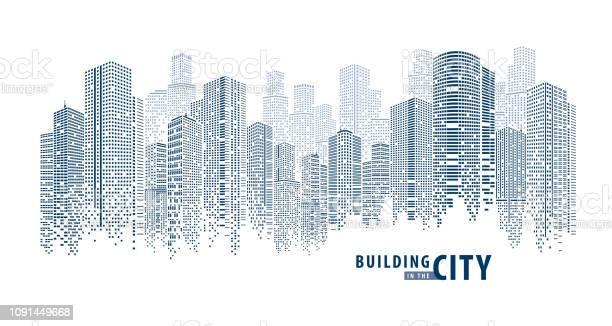 Pano Building Abstract 1 - Arte vetorial de stock e mais imagens de Alto - Descrição Física