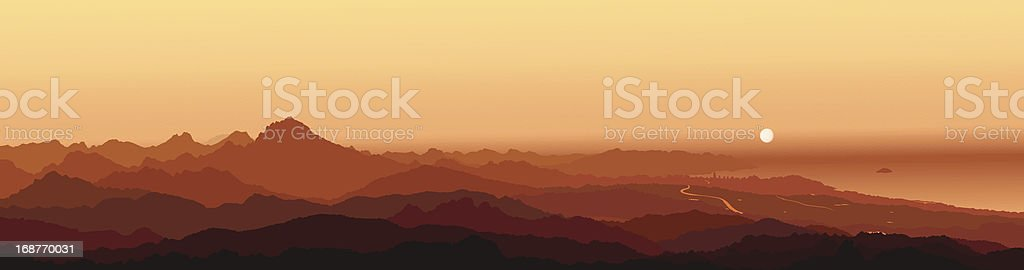 Panorama Cabezón de Oro (Cabeçó d'Or) Alicante Mountain Sunrise royalty-free stock vector art
