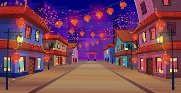 Panorama chinese street with chinese zodiac sign year of red rat,  houses, chinese arch, lanterns and a garland at night. Vector illustration of city street in cartoon style.