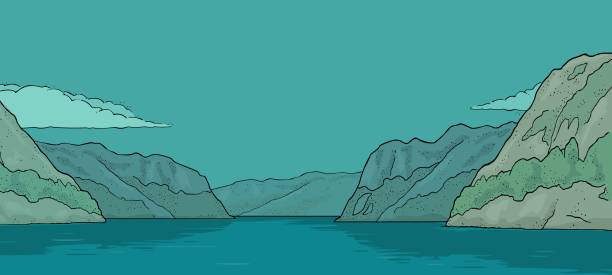 illustrazioni stock, clip art, cartoni animati e icone di tendenza di panorama fjord in norway. vintage vector color engraving - fiordi