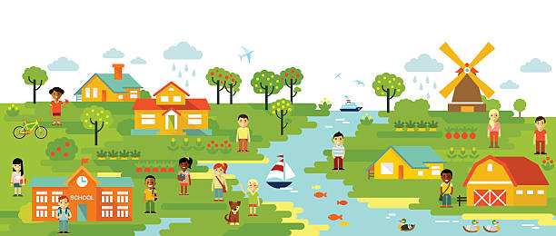 Town Landscape Vector Illustration: Best Rural Lifestyle Illustrations, Royalty-Free Vector