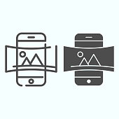 Panorama line and solid icon. Picture panorama in smartphone vector illustration isolated on white. Nature panorama photo with picture outline style design, designed for web and app. Eps 10