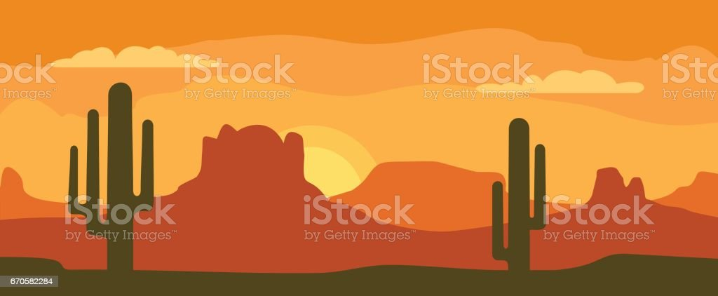 Panorama mountains and sunset sky with cactus. Vector flat illustration vector art illustration