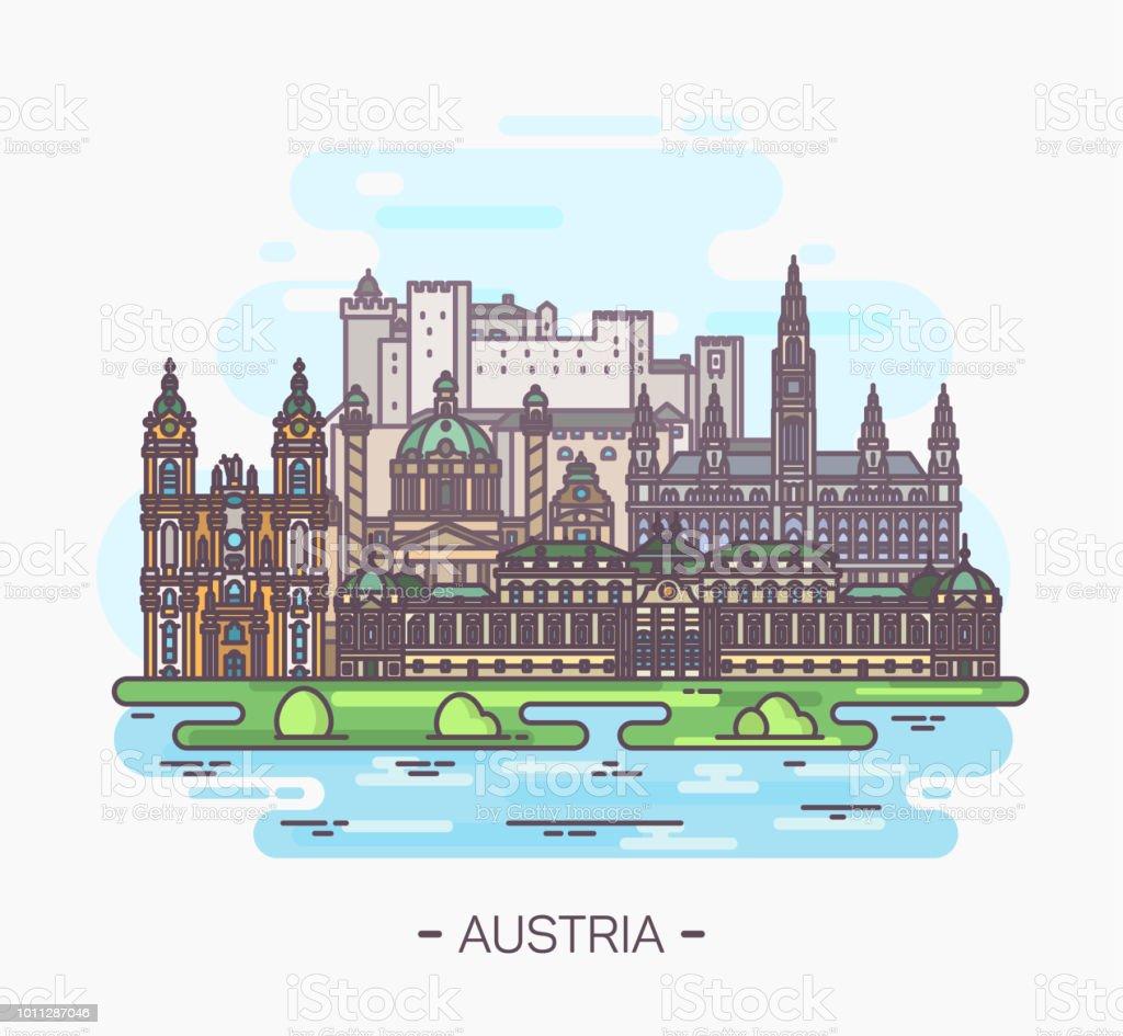 Panorama of Austria landmarks of Vienna, Salzburg