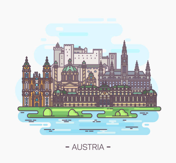 bildbanksillustrationer, clip art samt tecknat material och ikoner med panorama av österrike sevärdheterna i wien, salzburg - salzburg