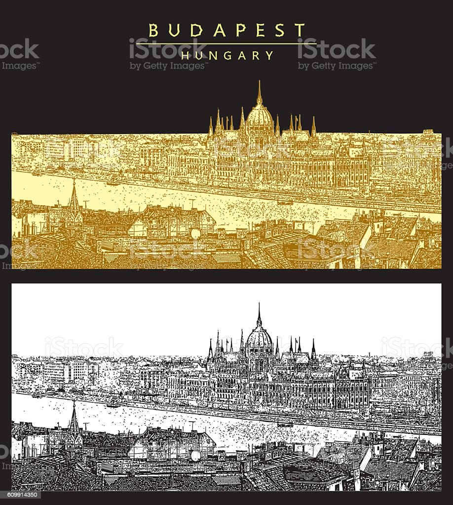 Panorama of Budapest and Hungarian Parliament. vector art illustration