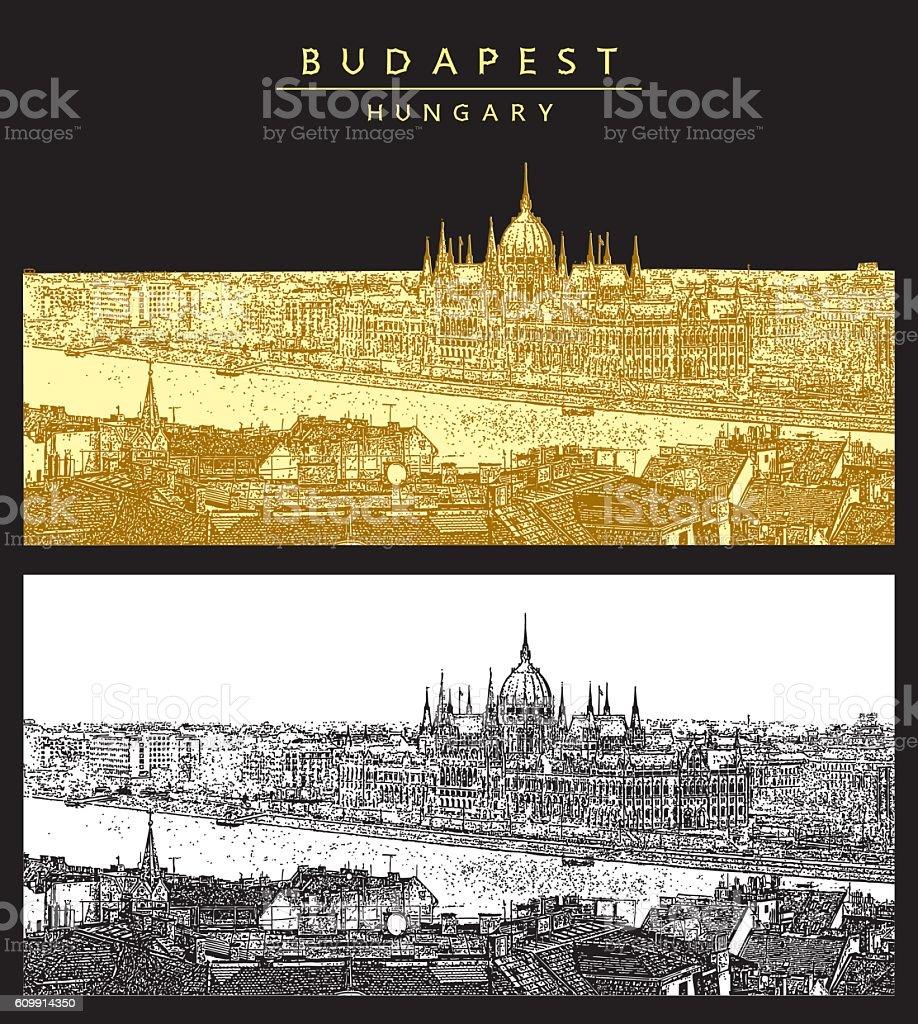Panorama of Budapest and Hungarian Parliament. – Vektorgrafik