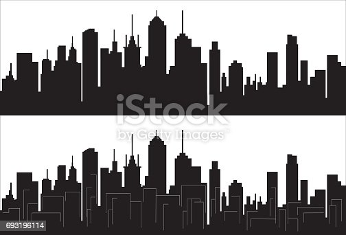 Panorama of city silhouette isolated on white, vector illustration