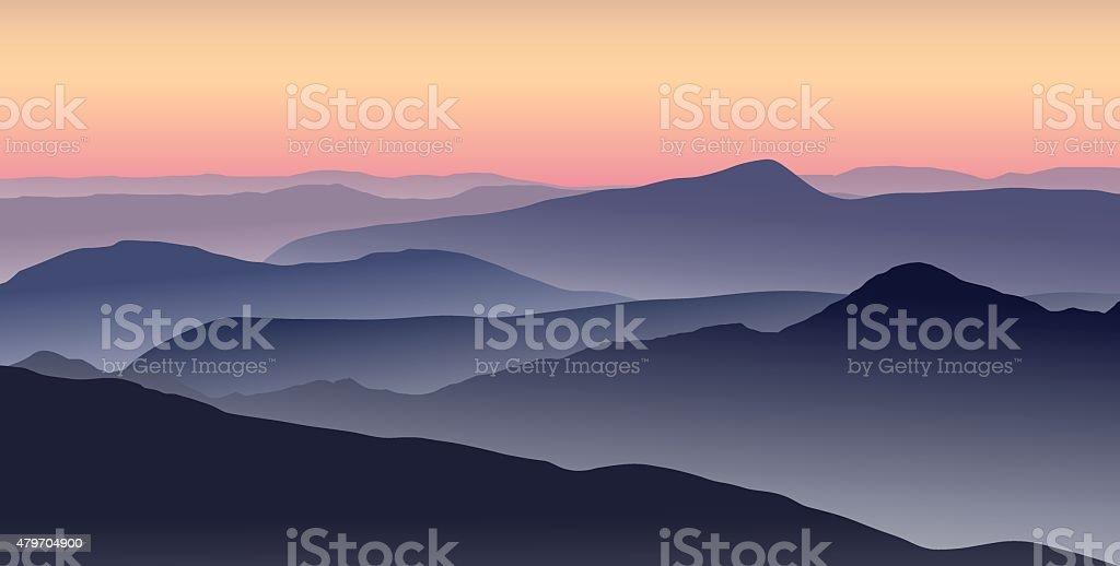 Panorama of foggy mountain ridges. vector art illustration