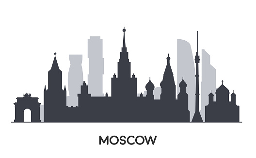 Panorama of Moscow flat style illustration. Famous Moscow buildings.