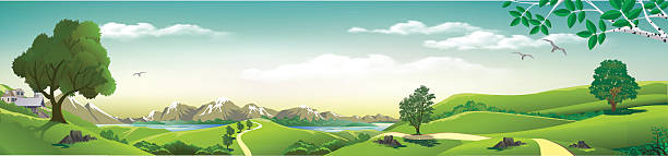 Panorama of nature - mountains, rivers, hills with trees. Panorama of nature - mountains, rivers, hills with trees. Vector illustration valley stock illustrations