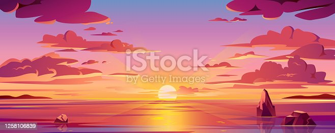 istock Panorama of sea sunset or ocean sunrise. Vector illustration of water and sky horizon, sun reflection. Dusk or dawn, evening or morning beach landscape. Scenery background or island backdrop 1258106839
