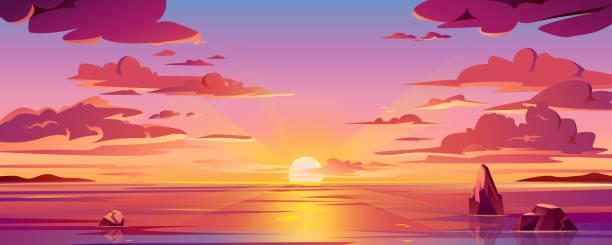 panorama o zachodzie słońca nad morzem lub wschodzie oceanu. wektorowa ilustracja horyzontu wody i nieba, odbicie słońca. zmierzch lub świt, wieczorny lub poranny krajobraz plaży. tło scenerii lub tło wyspy - zachód słońca stock illustrations