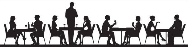 panorama sylwetki osób jedzących jedzenie i pijących w kawiarni lub restauracji ilustracji wektorowej - bar lokal gastronomiczny stock illustrations