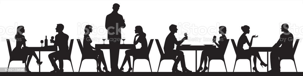 Panorama of silhouettes of people eating food and drinkers in a cafe or restaurant vector illustration vector art illustration