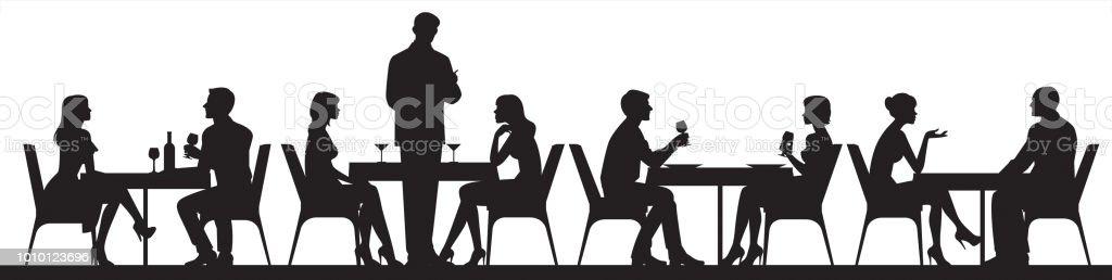 カフェやレストランのベクトル図に食べ物や飲酒を食べている人々 のシルエットのパノラマ ベクターアートイラスト