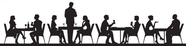 illustrazioni stock, clip art, cartoni animati e icone di tendenza di panorama of silhouettes of people eating food and drinkers in a cafe or restaurant vector illustration - cena