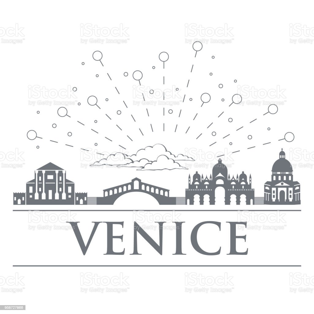 Panorama of the badges, icons, symbols of Italy. Objects are noble gray color. City of Venice. vector art illustration