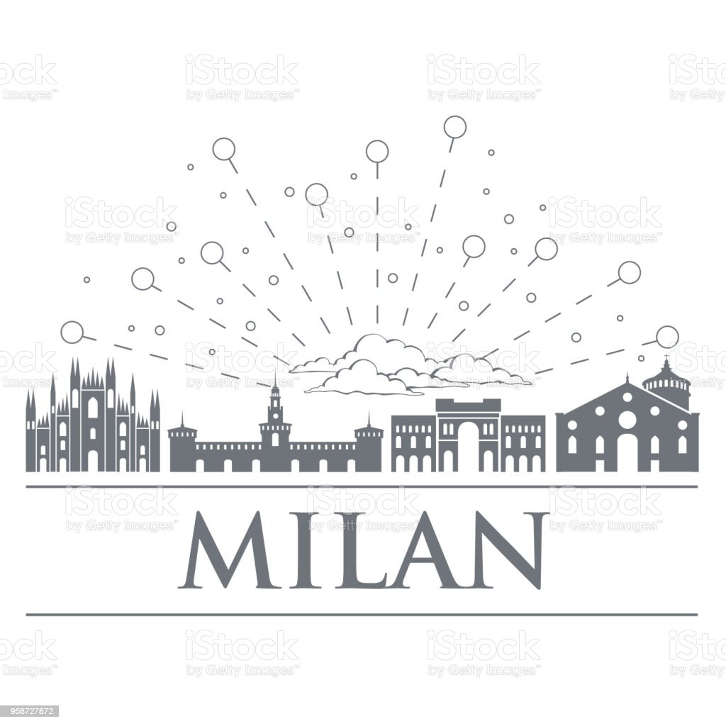 Panorama of the badges, icons, symbols of Italy. Objects are noble gray color. City of Milan.