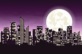 Panorama of the big city at night. Silhouettes of skyscrapers different construction in the dark town with glowing windows on a background of a large moon. Concept design banner. Vector illustration