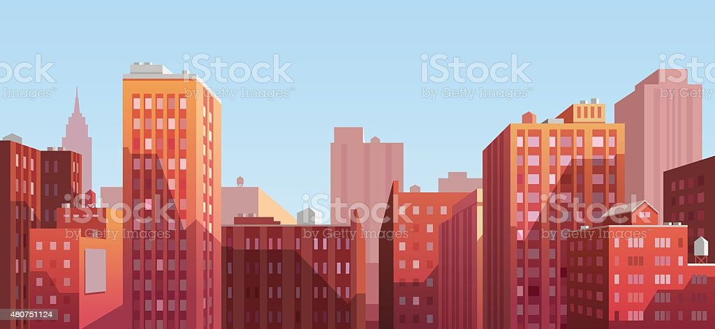 Panorama of the city vector art illustration